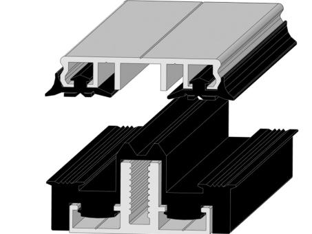 Alu Auflageprofil und Klemmprofil isoliert für 60 mm Unterkonstruktion