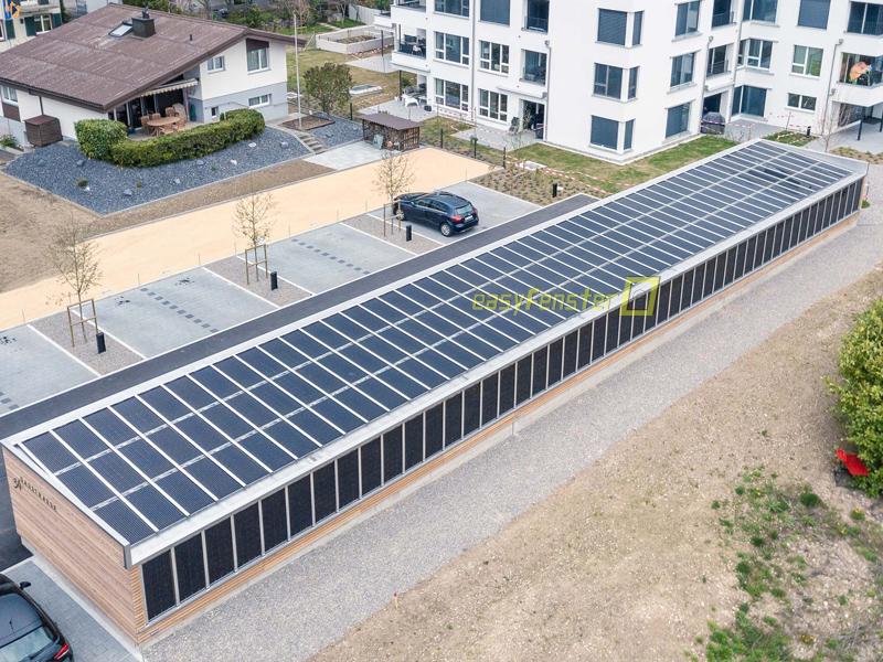 Solarglas dicht auf Dach und Wand eingebaut