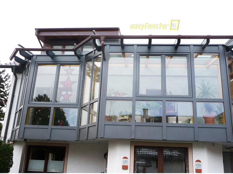 Glasbefestigung am Wintergarten bei Dach oder Wand