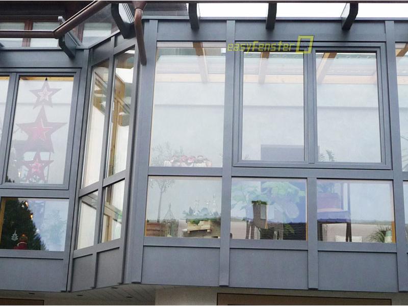 Glaswand am Wintergarten - Glas befestigen